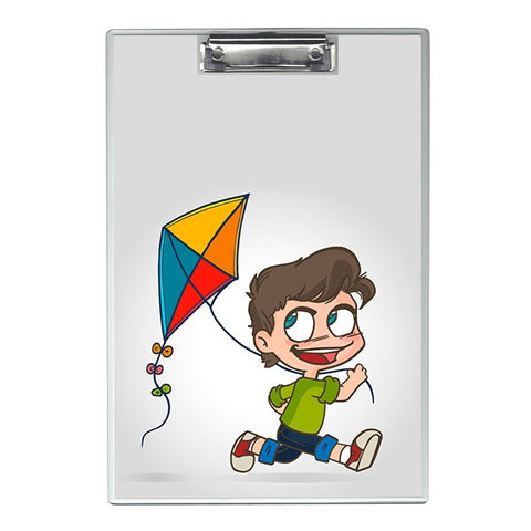 Boy running with kite Writing Pad