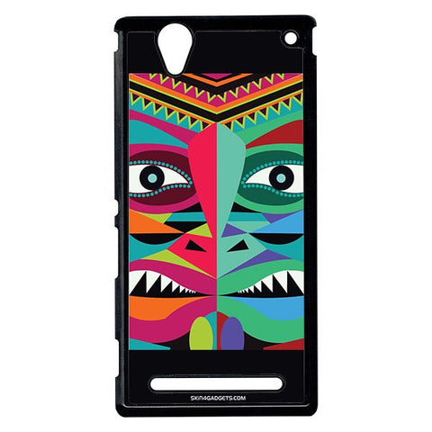 Tribal Face For Sony Xperia T2 Ulta BLACK PRO CASE