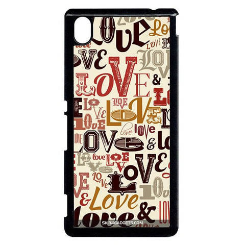 Love typography For Sony Xperia M4 BLACK PRO CASE