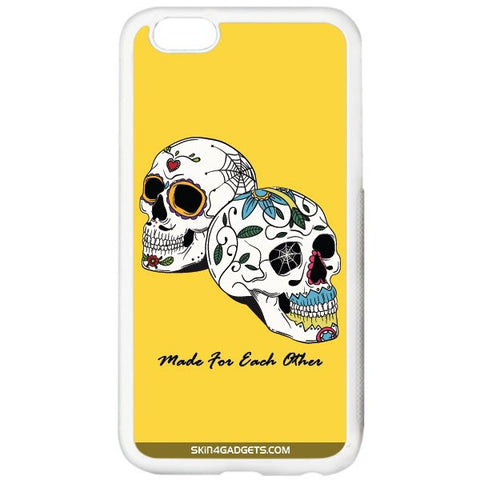 Made for each other (Skulls & Roses) For APPLE IPHONE 6 PLUS WHITE PRO CASE