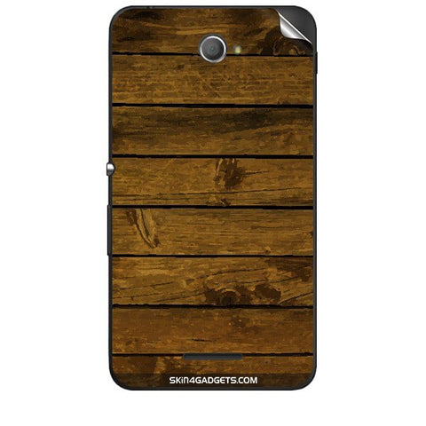 Brown Wooden Planks For SONY XPERIA E4 Skin