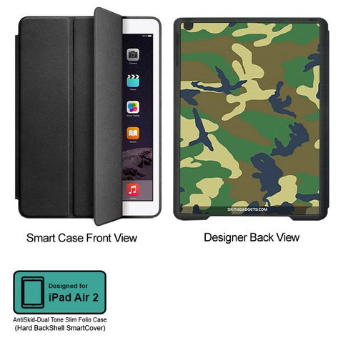 Camouflage - Green For APPLE IPAD AIR2 BLACK SMART CASE