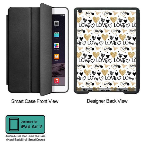 Heart and Love Doodle For APPLE IPAD AIR2 BLACK SMART CASE