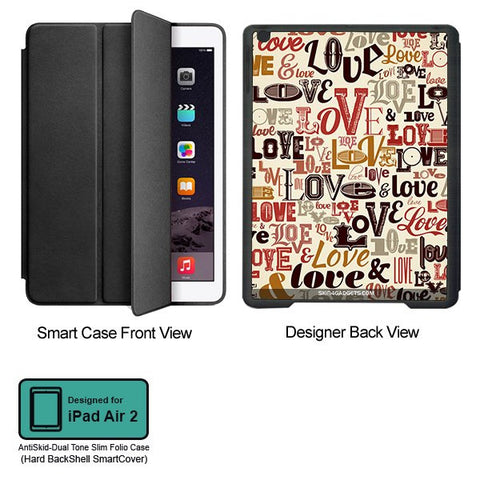 Love typography For APPLE IPAD AIR2 BLACK SMART CASE
