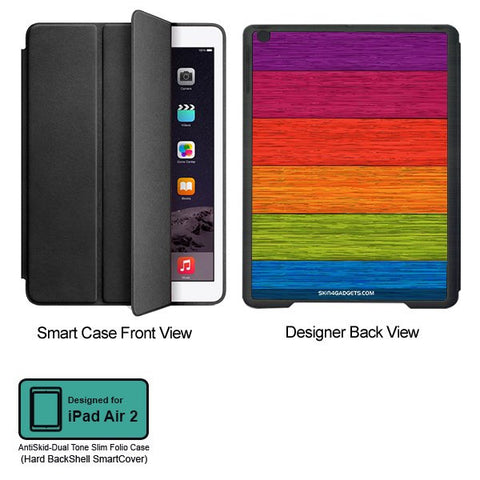 Multicolor Wooden Planks For APPLE IPAD AIR2 BLACK SMART CASE