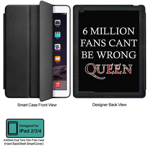 Universal Music Officially Licensed Queen -6 Million Fans Tablet Designer BLACK SMART CASE for APPLE IPAD 2,IPAD 3,IPAD 4,