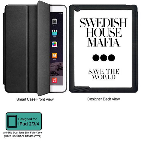 Universal Music Officially Licensed Swedish House Mafia -Save the World Tablet Designer BLACK SMART CASE for APPLE IPAD 2,IPAD 3,IPAD 4,