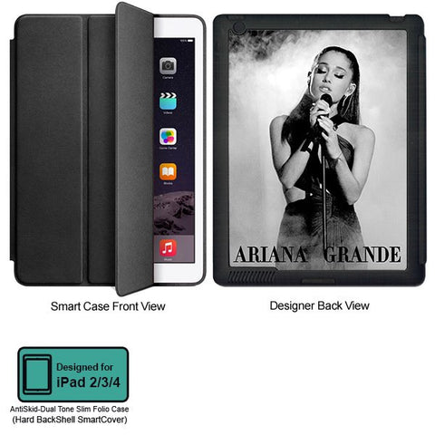 Universal Music Officially Licensed Ariana Grande -Style 2 Tablet Designer BLACK SMART CASE for APPLE IPAD 2,IPAD 3,IPAD 4, - skin4gadgets