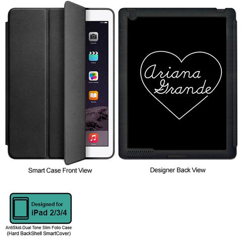 Universal Music Officially Licensed Ariana Grande -Heart Tablet Designer BLACK SMART CASE for APPLE IPAD 2,IPAD 3,IPAD 4, - skin4gadgets