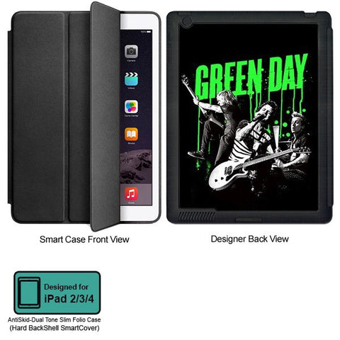 Universal Music Officially Licensed Green Day -Style 1 Tablet Designer BLACK SMART CASE for APPLE IPAD 2,IPAD 3,IPAD 4,