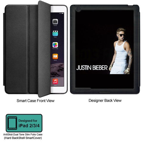 Universal Music Officially Licensed Justin Bieber -Style 1 Tablet Designer BLACK SMART CASE for APPLE IPAD 2,IPAD 3,IPAD 4,