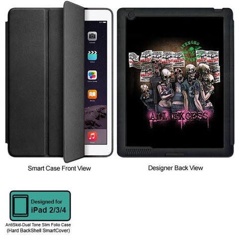 Universal Music Officially Licensed Avenged Sevenfold -All Excess Tablet Designer BLACK SMART CASE for APPLE IPAD 2,IPAD 3,IPAD 4,