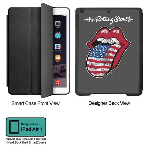 Universal Music Officially Licensed Rolling Stones -40 Licks American Flag Tablet Designer BLACK SMART CASE for APPLE IPAD AIR1,