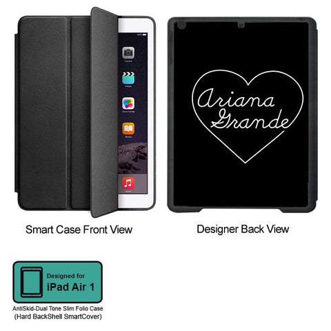 Universal Music Officially Licensed Ariana Grande -Heart Tablet Designer BLACK SMART CASE for APPLE IPAD AIR1,