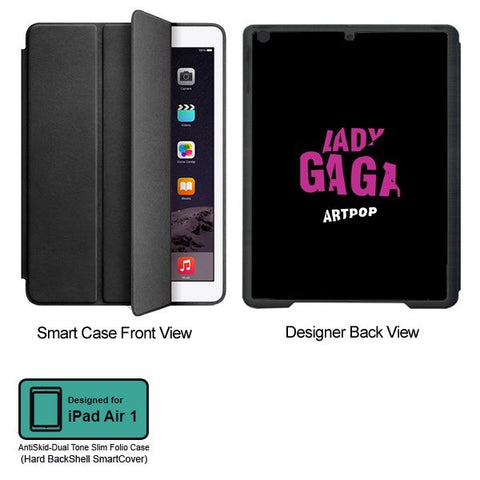 Universal Music Officially Licensed Lady Gaga -Style 2 Tablet Designer BLACK SMART CASE for APPLE IPAD AIR1,