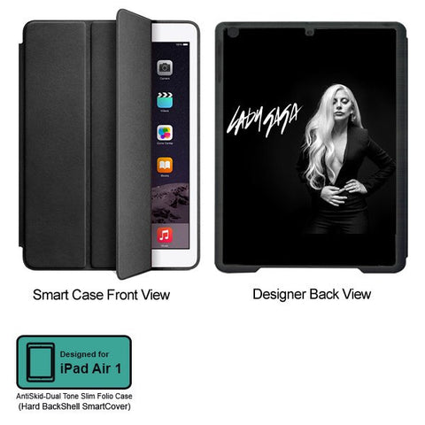Universal Music Officially Licensed Lady Gaga -Style 3 Tablet Designer BLACK SMART CASE for APPLE IPAD AIR1,