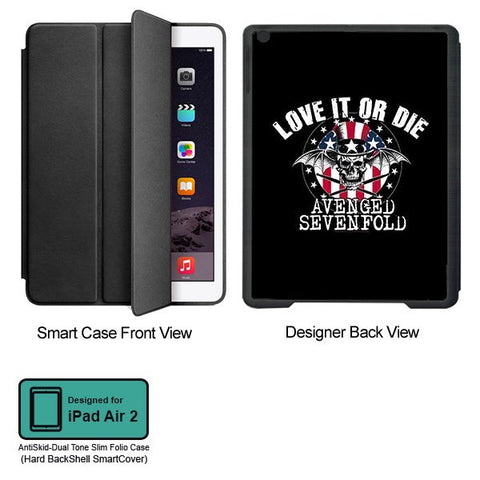Universal Music Officially Licensed Avenged Sevenfold -Love It or Die  Tablet Designer BLACK SMART CASE for APPLE IPAD AIR2,