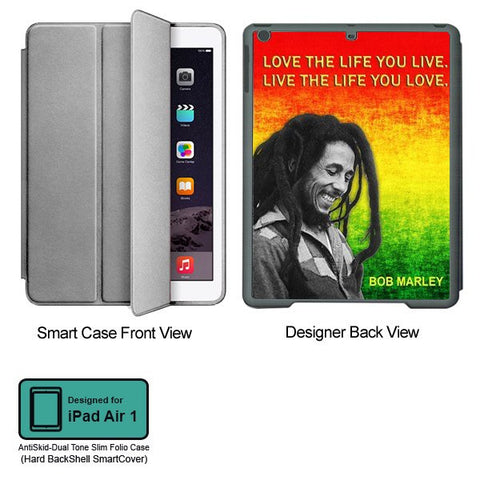 Universal Music Officially Licensed Bob Marley -Love the Life Tablet Designer GRAY SMART CASE for APPLE IPAD AIR1