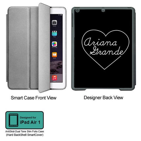 Universal Music Officially Licensed Ariana Grande -Heart Tablet Designer GRAY SMART CASE for APPLE IPAD AIR1