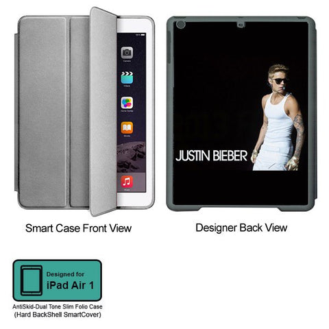 Universal Music Officially Licensed Justin Bieber -Style 1 Tablet Designer GRAY SMART CASE for APPLE IPAD AIR1