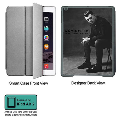 Universal Music Officially Licensed Sam Smith -Style 2 Tablet Designer GRAY SMART CASE for APPLE IPAD AIR2