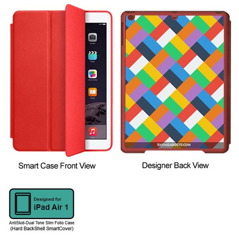 Colorful Geomatric pattern For APPLE IPAD AIR1 RED SMART CASE