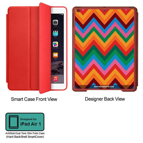 Colored Chevron For APPLE IPAD AIR1 RED SMART CASE