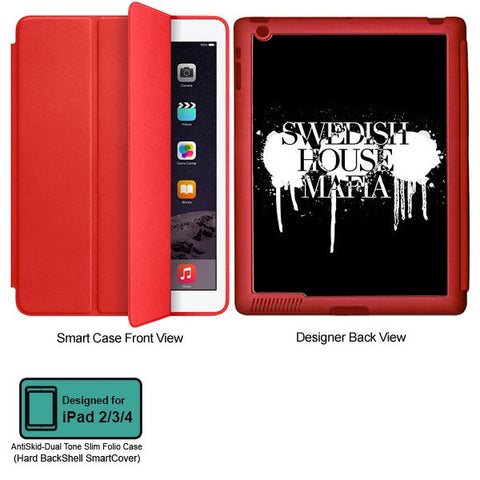 Universal Music Officially Licensed Swedish House Mafia -Logo #1 Tablet Designer RED SMART CASE for APPLE IPAD 2,IPAD 3,IPAD 4
