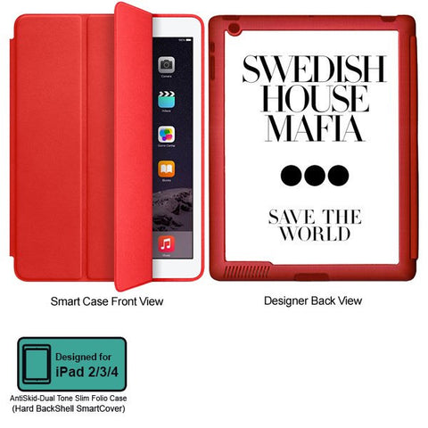Universal Music Officially Licensed Swedish House Mafia -Save the World Tablet Designer RED SMART CASE for APPLE IPAD 2,IPAD 3,IPAD 4