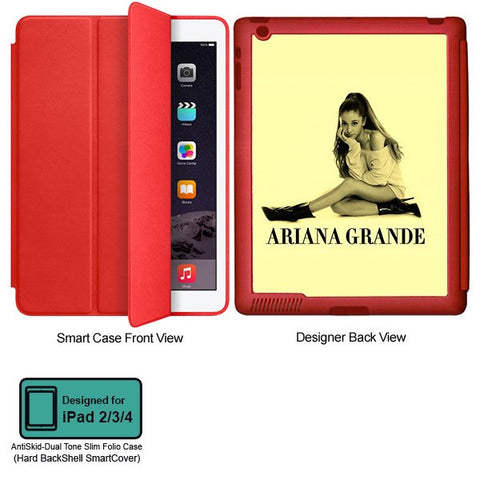 Universal Music Officially Licensed Ariana Grande -Style 1 Tablet Designer RED SMART CASE for APPLE IPAD 2,IPAD 3,IPAD 4