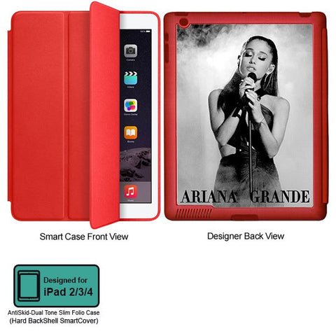 Universal Music Officially Licensed Ariana Grande -Style 2 Tablet Designer RED SMART CASE for APPLE IPAD 2,IPAD 3,IPAD 4