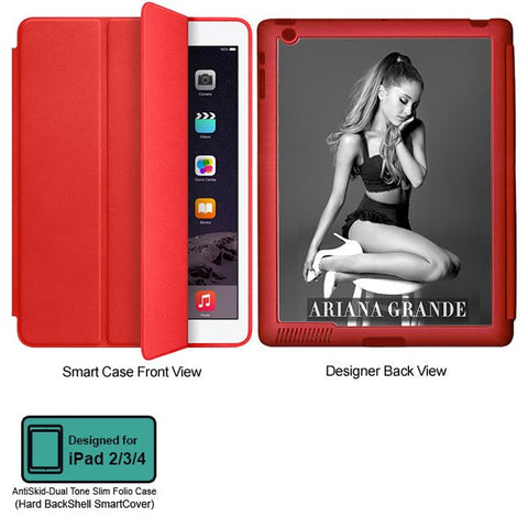 Universal Music Officially Licensed Ariana Grande -Style 3 Tablet Designer RED SMART CASE for APPLE IPAD 2,IPAD 3,IPAD 4