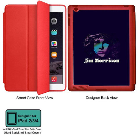 Universal Music Officially Licensed Jim Morrison -Style 1 Tablet Designer RED SMART CASE for APPLE IPAD 2,IPAD 3,IPAD 4