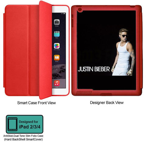 Universal Music Officially Licensed Justin Bieber -Style 1 Tablet Designer RED SMART CASE for APPLE IPAD 2,IPAD 3,IPAD 4