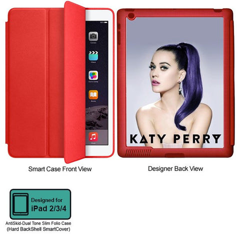 Universal Music Officially Licensed Katy Pery -Style 1 Tablet Designer RED SMART CASE for APPLE IPAD 2,IPAD 3,IPAD 4