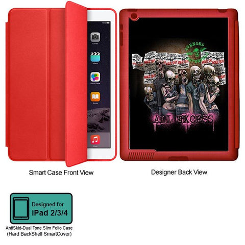 Universal Music Officially Licensed Avenged Sevenfold -All Excess Tablet Designer RED SMART CASE for APPLE IPAD 2,IPAD 3,IPAD 4
