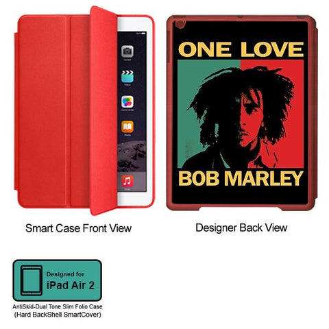 Universal Music Officially Licensed Bob Marley -One Love Style 1 Tablet Designer RED SMART CASE for APPLE IPAD AIR2