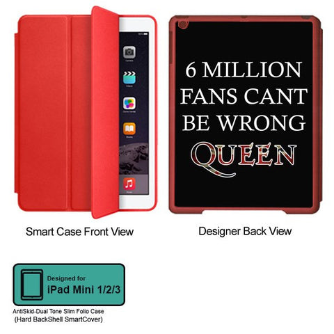 Universal Music Officially Licensed Queen -6 Million Fans Tablet Designer RED SMART CASE for APPLE IPAD MINI 1, APPLE IPAD MINI 2, APPLE IPAD MINI 3