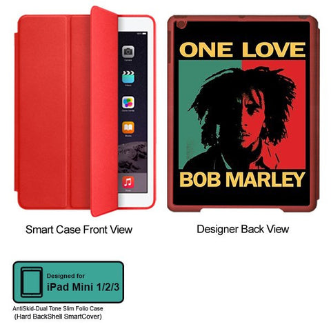 Universal Music Officially Licensed Bob Marley -One Love Style 1 Tablet Designer RED SMART CASE for APPLE IPAD MINI 1, APPLE IPAD MINI 2, APPLE IPAD MINI 3