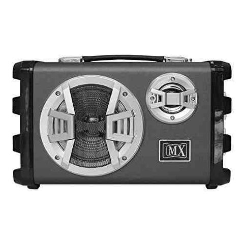 MX Professional Portable PA Speaker Amplifier with 1 Microphone Remote Battery Bluetooth Aux Radio (Grey) MX 3706-5
