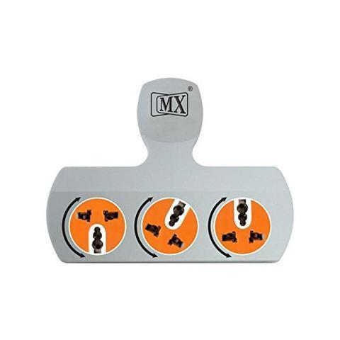 MX Professional 3 Pin 3 Socket Universal Adaptor with Rotatable Sockets - 5 Amps MX 3477