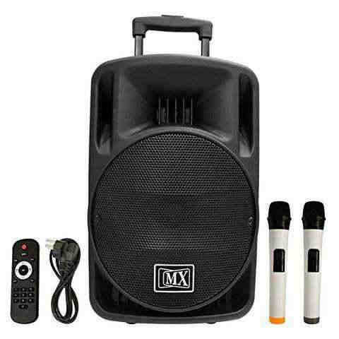 MX PROFESSIONAL MR SERIES 15 PORTABLE MULTIMEDIA TROLLEY SPEAKER WITH BLUETOOTH USB AUX INPUT & WIRELESS MICROPHONE MX 3715MR