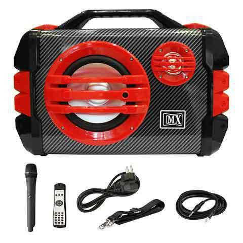MX PORTABLE PA SPEAKER AMPLIFIER W/MICROPHONE REMOTE BATTERY BLUETOOTH AUX RADIO - COLOUR RED MX 3706-5R