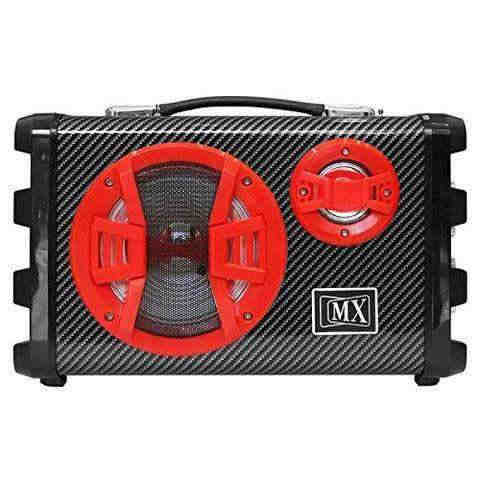 MX Professional Portable PA 5.5 Speaker Amplifier with 1 Microphone Remote Battery Bluetooth Aux Radio (Red) MX 3706-R