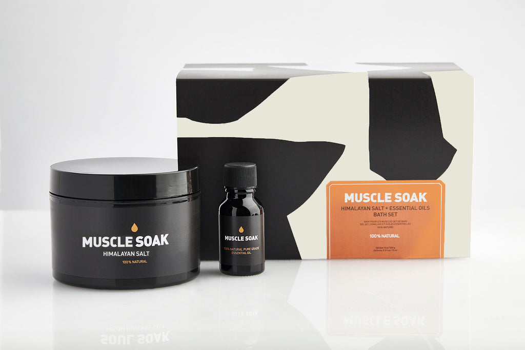 MUSCLE SOAK BATH SET | HIMALAYAN SALT + ESSENTIAL OIL