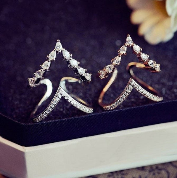 Shining rhinestone double layer rings