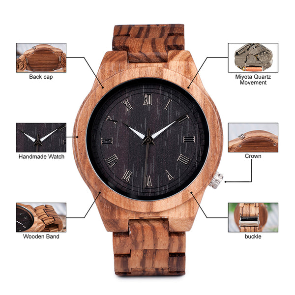 Amazing Zebra Wooden Watch