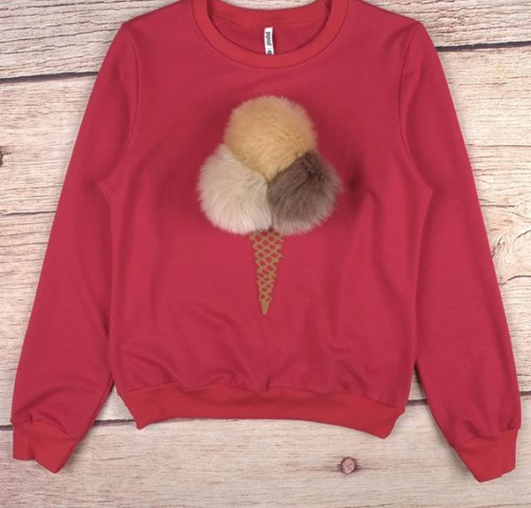 "Sweatshirt ""Ice cream"" with pompons"