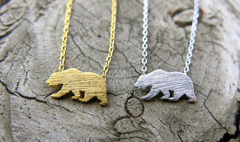 Tiny California Bear Necklace