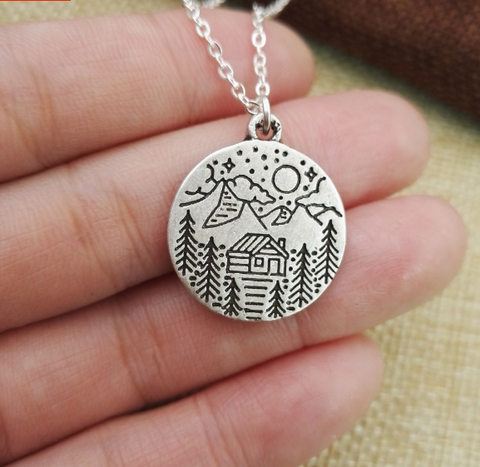 Dainty outdoor mountain  necklace